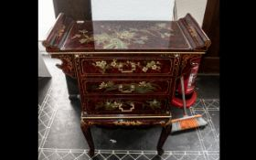A Chinese Red Lacquered Alter Table Shaped Chest, consisting of three drawers,