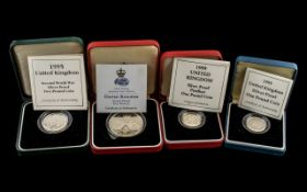 Collection of Royal Mint Silver Box Sets ( 4 ) Boxed Royal Mint Solid Silver Coins In Total.