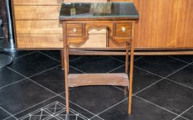 Edwardian Table of Small Proportions with two drawers. inlay and banding, a lovely size at 29 inches