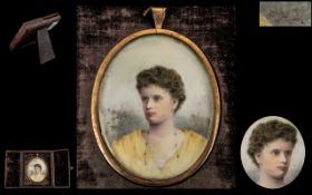 Late Victorian Period - Signed and Excellent Quality Hand Painted Portrait Miniature on Ivory of An