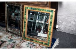 Large Bevelled Glass Mirror, in wooden frame set with green square tiled decoration. Measures 27'' x