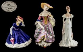 Three Modern Porcelain Figures of Elegant Ladies, Arabella by Franklin Mint 9'' tall, Mary by