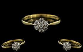 18ct Gold and Platinum Diamond Set Cluster Ring - Flower head Setting.