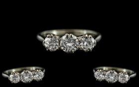 18ct White Gold and Platinum 3 Stone Diamond Set Ring.