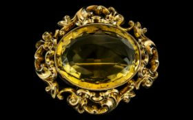 Antique Period - Ladies Large and Superb Quality 18ct Gold Citrine Set Ornate Brooch of Large
