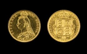 Queen Victoria - Jubilee 22ct Gold Shield Back Young Head Half Sovereign. London Mint - Date 1887.