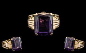 Ladies 18ct Gold - Attractive Single Stone Emerald Cut Amethyst Set Dress Ring.