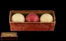 Advertising Interest - Antique Boxed Billiard Balls.