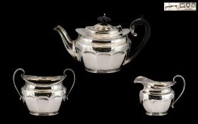 Early 20thC Sterling Silver Bachelors Three Piece Tea Service of fine proportions for the single