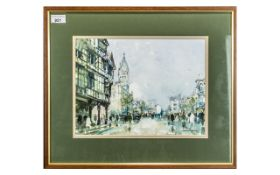 George Thompson 20thC Artist Framed Watercolour Town Hall Chester. 10 x 13 inches.