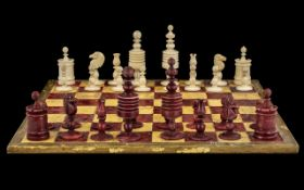 Antique Carved Indian Ivory Full Chess Set of traditional form, c1840/60; height of the King 3.
