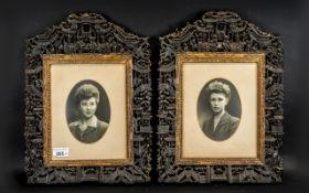 Chinese Antique Lacquered Qing Dynasty Carved Wooded Frames, circa 1820/30s, of the finest quality,