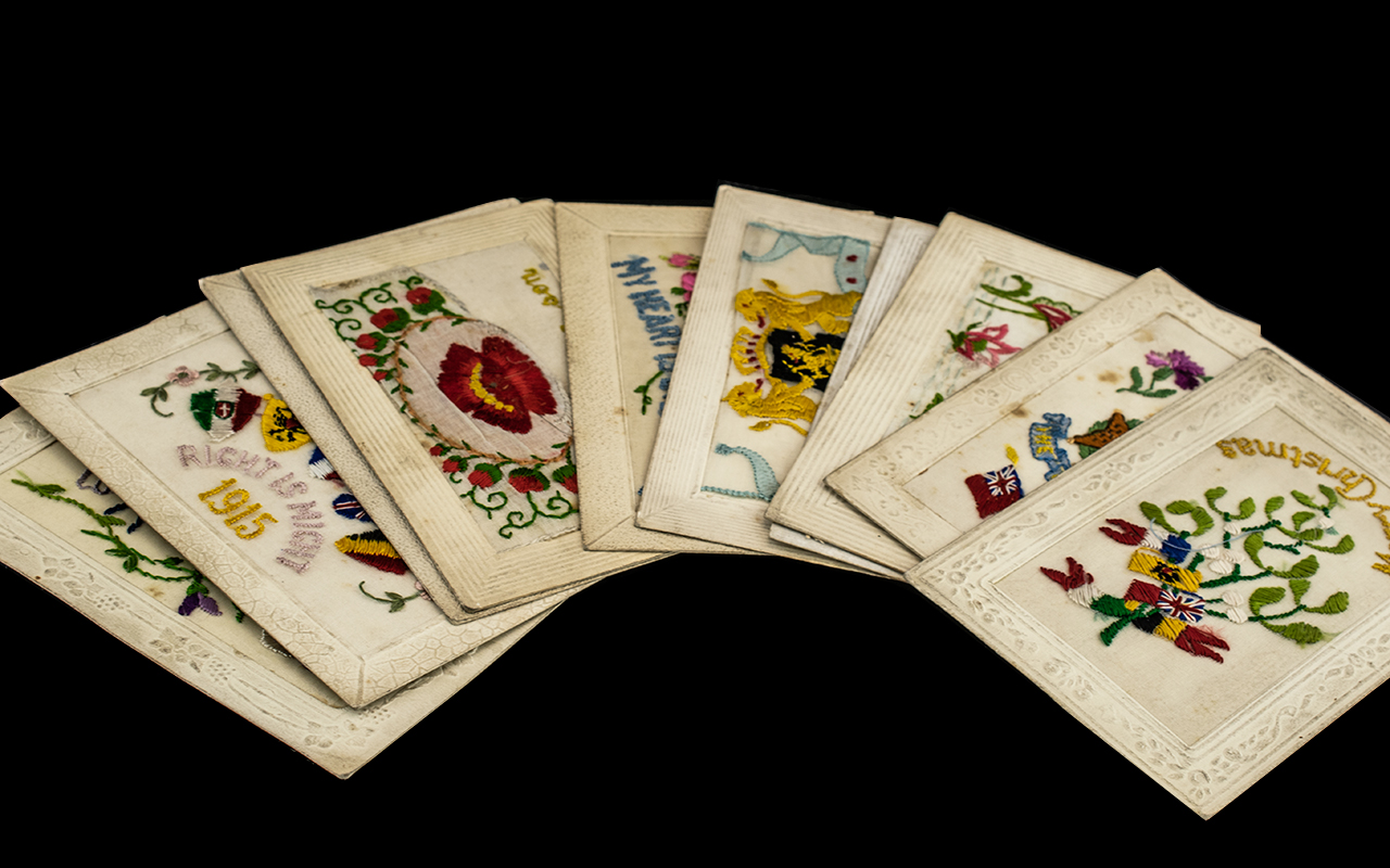 First World War Soldiers Silk French Embroidered Post Cards, depicting flags, butterflies,