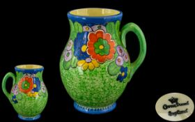 Crown Ducal Charlotte Rhead Superb Hand Painted Stylish Enamel 1930's Jug, Floral Pattern, Decorated
