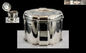 A Fine Quality - Early 20th Century Queen Anne Shaped Sterling Silver Lidded Tea Caddy of Pleasing