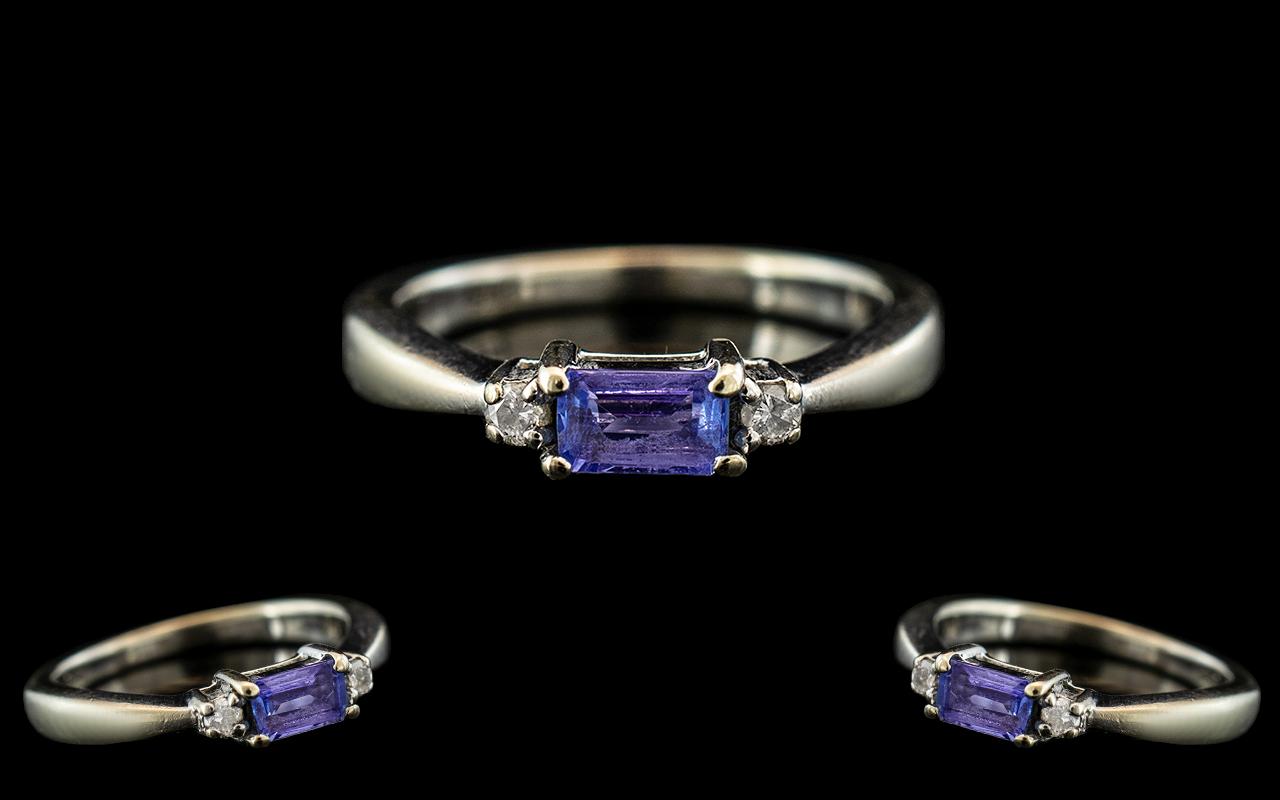 Ladies - Attractive Contemporary 9ct White Gold Aquamarine and Diamond Set Ring with Full Hallmark