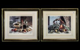 Pair of Pencil Signed Limited Edition Prints by Geoffrey T Wood, depicting fruits of the table,