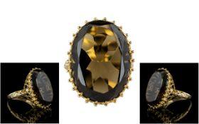 9ct Gold - Large and Impressive Single Stone Topaz Set Ring - 1970's. Full Hallmark for 9.375.