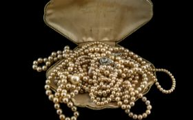 Pompadour Pearls Oyster Shaped Box With Various Faux Pearls