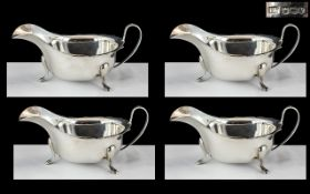 1930's Period Excellent Quality Set of 4 Sterling Silver Sauce Boats - All of The Same Design and