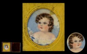Early Victorian Period Hand Painted Portrait Miniature of a Young Child on Ivory,