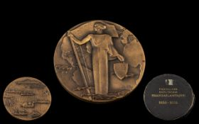 Cased Art Deco Style Bronze Medallion .Compagnie Generale Transatlantique. 1855-1955 .depicting