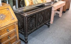 Large Carved Oak Lift-Lid Bedding Box in the Jacobean style,