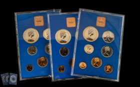 Three Proof Sets 1972 Coinage of Great Britain and Northern Ireland