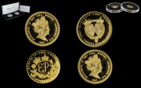 Jubilee Mint The Platinum Wedding Anniversary Solid Gold Coin Pair, Struck In 9ct Gold Proof Like,