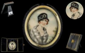 1930's Excellent Quality Oval Shaped Hand Painted Portrait Miniature on Ivory of a Young Lady In