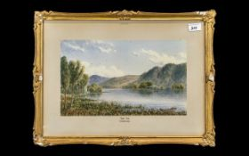 Mid Victorian Watercolour of Lake Windermere, dated and signed bottom left; framed, painting size