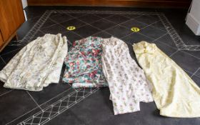 Collection of Laura Ashley Curtains, comprising a pair of Cornflower design curtains on cream