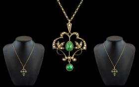 Victorian Period Exquisite 9ct Gold Jade and Seed Pearl Set Drop Pendant of Stunning Design / Form,