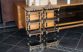 Pair of Chinese Style Wooden Decorated Wall Shelves, with three shelves with spindle supports,