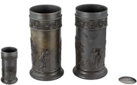 Wedgwood 19th Century Early Pair of Basalt Vases of Chimney Shape, Decorated with Classical Images,