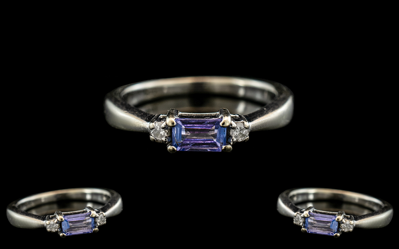 Ladies - Attractive Contemporary 9ct White Gold Aquamarine and Diamond Set Ring with Full Hallmark - Image 2 of 2