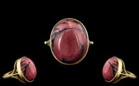Victorian Period - Superb Quality and Impressive 18ct Gold Cabochon Cut Pink Agate Set Ring.
