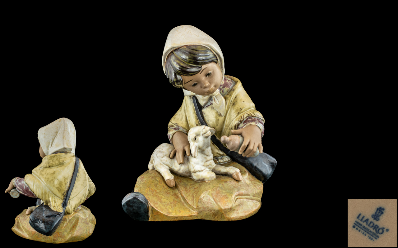 Lladro - Gres Large Hand Painted Figure ' New Lamb ' Model No 2223. Issued 1992, Sculpture Juan
