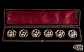 Art Nouveau Superb Set of Six Cast Silver Buttons In Original Display Box.