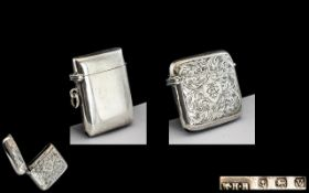 Early 20th Century Sterling Silver Hinged Vesta Case with Chased Floral Decoration to Front and