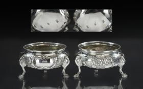 Victorian Period Fine Pair of Cast Silver Salts, Raised on Hoofed Feet, With Embossed Floral