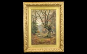 William Temple Muir Oil on Panel, Lovely Scene of Farmer with Sheep, Signed Bottom Left.
