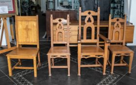 Four Oak Ecclesiastical Chairs,