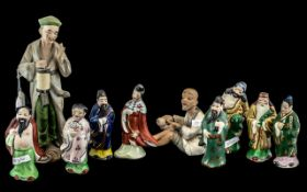 Collection of Ten Small 20thC Chinese Porcelain Figures, decorated in coloured enamels,