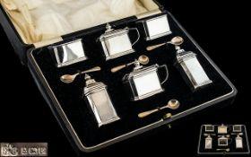 Elkington & Co Superb Six Piece Sterling Silver Cruet Set with Original Box.