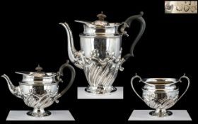 Victorian Period Superb Quality Sterling Silver ( 3 ) Piece Tea Service of Excellent Design /