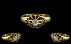 18ct Yellow Gold - Excellent Quality Single Stone Diamond Set Ring - Gypsy Setting.