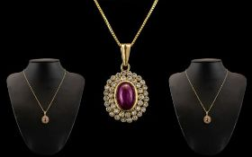 Antique Period - Wonderful and Attractive Ruby and Diamond Set Oval Shaped Pendant Attached to a