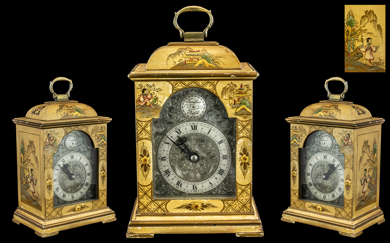 A Fine Quality Miniature English Bracket Clock of typical form, with an arched engraved brass