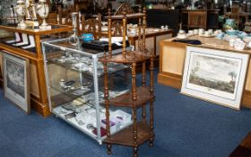 Victorian Walnut Inlaid Four Tier What Not, supported by turned spindles, circa 1880's,
